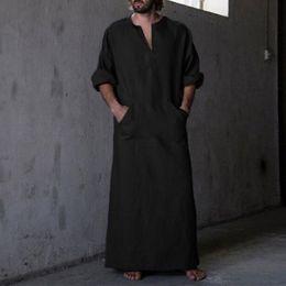 22af1cf8cf Middle East Islamic Man Thobe Kaftan Clothing Hombre Men s Shirts Robe  Dress Long Sleeve Cotton V-Neck Full Length 5XL Masculino