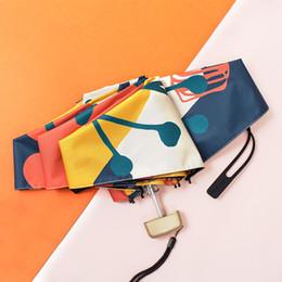 Colorido Mini Bolso Guarda-chuva Mulheres Luz Plana 5 Dobrável Chuva Guarda-chuvas Feminino Marca 6 K Proteção Solar Parasol Sombrinha Parasol de Fornecedores de presente guarda-chuva de papel