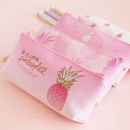 2019 cajas de lápices para niñas Fruit Peach Piña Caja de Lápices Escuela Caja de Lápices Papelería Coreana Lápiz Kawaii Girls Bag Escuela Regalos Suministros rebajas cajas de lápices para niñas