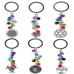 Wholesale keychain anchor - 7 Chakra Keychain Tree Of Life Hamsa Hand Anchor Key Rings Yoga Colorful Beads Energy Key Chain 11 Style