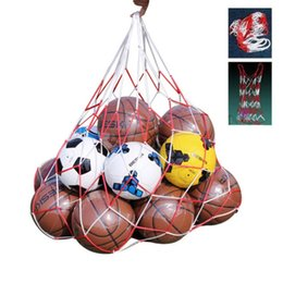 Wholesale Soccer Football Net - Outdoor sporting Soccer Net 10 Balls Carry Net Bag Sports Portable Equipment Football Balls Volleyball ball net bag 1Pcs