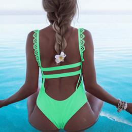 Um terno lateral on-line-One Piece Swimsuit 2019 Lado Sexy Do Laço Ombro Swimwear Mulheres Halter Empurrar Para Cima Maiôs Moda Praia Terno de Natação Para As Meninas