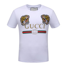 Wholesale Men High Collar T Shirt - High quality 1new luxury designers shirt medusa small round collar T-shirt Italian designer fashion noble tiger dragonfly short sleeve T-shi