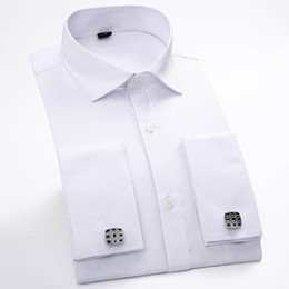 Wholesale French Cuff Clothing - Long Sleeve Men's Shirts Formal Solid Color Men Dress Shirt French Cuff Cutaway Collar Pocket Male Clothes Dinner Wedding Spring
