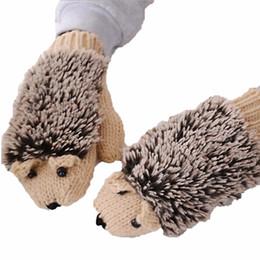 Wholesale Novelty Hand Warmers - Women Winter Gloves Cute Hedgehog Knitted Hand Warm Fleece Mitten