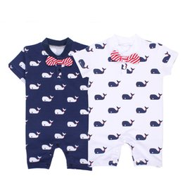 Wholesale Girls Bows Wholesale - Whale Rompers Baby Jumpsuits Bow Tie Summer Short Sleeve Cartoon Printed Cotton Nondeformable Baby Girls Boys 9-24M