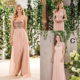 Wholesale Cheap Sparkly Wedding Dresses - 2018 Sparkly Sequins A Line Chiffon Bridesmaid Dresses Jewel Neck Lace Ruffles Cheap Long Beach Wedding Gust Party Wear Maid of Honor Gowns