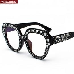 143a0bce4a316 Peekaboo clear lens oversized glasses frames female gift 2019 black frame  women eyeglasses rhinestones decoration luxury rhinestone eyeglass frames  ...