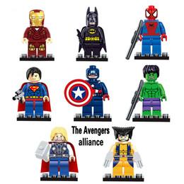 Wholesale super hero mini toys - The Avengers Alliance 8pcs lot Marvel DC Super Heroes Series Mini figures building blocks figures DIY Children Bricks Toys Gift