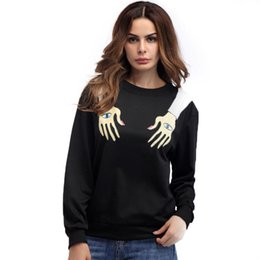 ed4a8a6a32d2 European And American Eyes Arm Personality Printing T-shirt Coat Round Neck Long  Sleeve Fleece Loose Woman