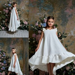 pentelei dresses Promo Codes - Pentelei 2019 Hi Lo Flower Girl Dresses A Line Beads Satin V Neck Little Girl Christmas Pageant Dress