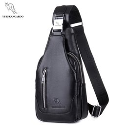 Wholesale men bags kangaroo - YUES KANGAROO Famous Brand Men Chest Bag Leather Single Shoulder Bag Black Men Travel Crossbody Vintage Rucksack Messenger