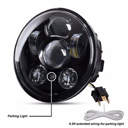 """Wholesale Dyna Led - 5-3 4"""" 5.75"""" Round LED Projection Daymaker Headlight With Parking Lights DRL For Harley Davidson Motorcycles Black 9 pcs Bulb"""