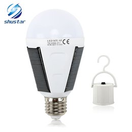 Wholesale Emergency Lamp Rechargeable - LED Solar Lamp 7W 12W Outdoor Led Bulb AC85-265V Bombillas E27 Rechargeable LED Solar Bulb IP65 Camping Emergency lighting