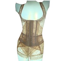 Macacão de calcinha emagrecedor on-line-Sexy Elastic Oco Malha Magro Bodysuits Mulheres Hot Shapers Lace Top Sexy Dividir Shapewear Calcinha Shaper Cueca Lingerie Nightwear Pijamas