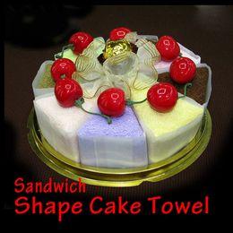 Wholesale Christmas Cake Towel Gift - 10PCS lot! Creative Cute Sandwich Cake Towel Festival Wedding Supplies Towel Christmas Gift 30*30 cm
