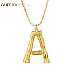 Mode 26 Inital Brief Name Bambus Anhänger Halskette für Frauen Gold Farbe A-Z Alphabet Schlangenkette Halskette Schmuck Großhandel von Fabrikanten