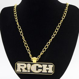 Wholesale Rich Jewelry - Fashion Punk Hip Hop Men Jewelry Long Cuban Link Chain Full Iced Out Rhinestones RICH Letters Tag Pendant Gold Necklace