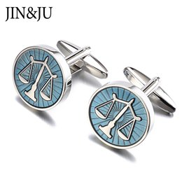 Wholesale Cuff Links Studs - JIN&JU High Quality Libra Scales Cufflinks Round Balance Cuff Links For Mens Shirt Studs Gift Lawyer Relojes Gemelos