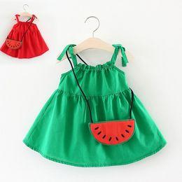 Robe pastèque bébé fille en Ligne-Vêtements pour filles Wear 2018 Summer Bursting Dress Child Baby Girls Sling Pastèque Satchel Belle Princesse Sac comme cadeau