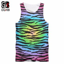 Chaleco leopardo online-OGKB Chaleco casual para hombre Cool Print Colorful Leopard 3D TankTop Man Fit Slim Workout Fitness sin mangas Camisetas Singlets hombre