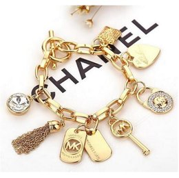 Wholesale key clasps - Luxury Bracelet Men's Women's Heart Tassel Key Charm Pendant Cuff Bracelet New Jewelry
