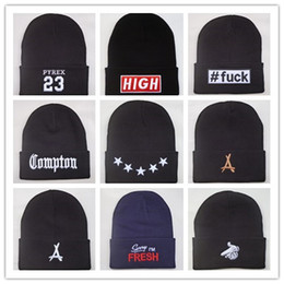 Wholesale Gold Cream For Face - New Arrival Compton Pyrex 23 tha Alumni last kings Stars beanie hats hip hop wool winter hat smile face knitted warm caps for men women