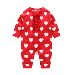 Wholesale Wholesale Organic Baby Rompers - 2018 newest Romper Girls Jumpsuits Autumn infant Baby Long Sleeved Love heart Rompers 0-2T Baby girl Cotton Knit Climb jumpsuit Red A8373