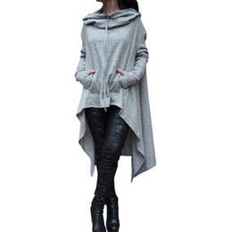 poncho coat sleeves Promo Codes - ALEOBONWAY Women's Fashion Solid Draw Cord Coat Long Sleeve Loose Casual Poncho Hooded Pullover Long Hoodies Sweatshirts CL049
