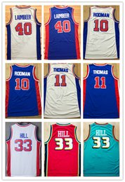 Wholesale Red Hills - NCAA Wholesale Free Shipping Men's Shirt #10 Dennis Rodman Jerseys,#11 Isaiah Thomas 40#Bill Laimbeer 33# Grant Hill Basketball Jersey