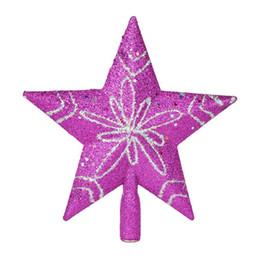 Cima d'albero di natale d'argento online-2015 Nuovo albero di Natale 20 centimetri Argento Blu Oro Deluxe albero top stella decorazioni natalizie artigianali