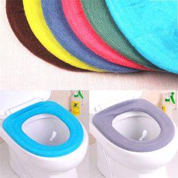 Couvre-siège de toilette en Ligne-Toilettes universelles lavables Mat Soft Multi couleurs Housses de siège de toilette Type O Garder au chaud Accessoires de salle de bain Vente chaude 1 1dz XB