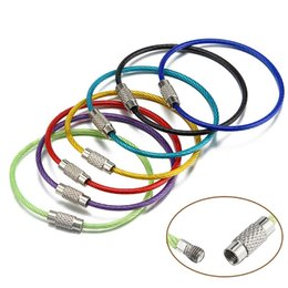 Wholesale locking wire stainless steel - Screw Locking Stainless Steel Keychain Wire Cable Rope Key Ring For Outdoor Hiking Sturdy Multi Size Keys Charms 0 38ca Z
