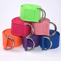 Equipo deportivo online-PENGROAD Cinturón Ajustable Yoga Sport Stretch Strap D-Ring Cinturones Gimnasio Cintura Pierna Algodón Stretch Belt Fitness Yoga Cable Equipments