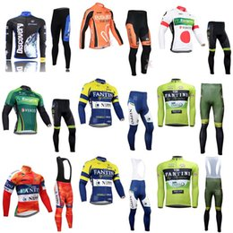 Wholesale Cream Long Sleeve - 4 different models men cycling Jersey suits in autumn fall with long sleeve bike bib pants sets in cycling clothing bicycle wear C0908