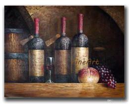 Bottiglie di dipinti online-dipinti ad olio dipinti a mano still life dipinti ad olio bottiglia di vino decorazione della parete di arte decorazione della casa regali unici Kungfu Art