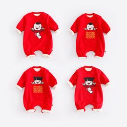 Wholesale Toddler Pijamas - Long Sleeve Thckened Baby New Year Clothing Red Winter Baby Rompers Infant Jumpsuits Lovely Pijamas Overall for 0-2 Y Toddlers