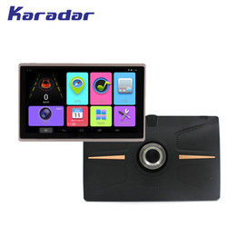 Wholesale av navigation - KARADAR 7 inch IPS screen 1024*600 Car GPS navigation Android 4.4 with front DVR 720P with bluetooth wifi FM G sensor AV-IN