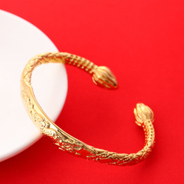 Wholesale wholesale 24k gold jewelry - Dragon Bangle 24K Gold African Real Men Jewelry Accessories Dragon Opening Embossing Bracelets Bangles For Father Men