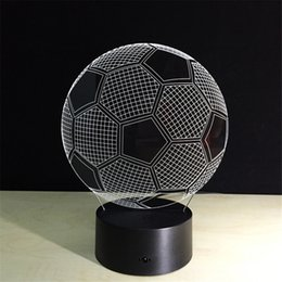 Wholesale Football Led Night Light - Night Lights LED Table Lamp Novelty Fashion 3D 7 Colors Little Football with Multi-colors as Bedroom Decoration Support Customization