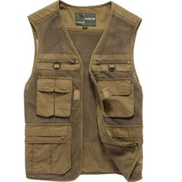 Wholesale photography works - Spring Autumn Coon Mesh Men vest Multi Many Pocket Photography Vest Plus Size Working Waistcoat Sleeveless Jacket Men L-4XL