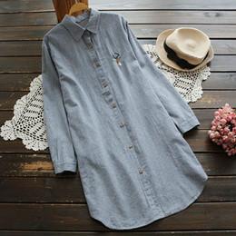 Wholesale Women Striped Button Down Shirt - Spring Casual Sweet Embroidery Shirt Women Clothing Turn Down Collar Striped Lapel Long Tops Cotton Linen Blouses Blusas U617