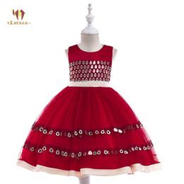 Böhmisches hochzeitskleid xl online-ESERES Bohemian Ballkleid Kleider für Mädchen rot / blau ärmellose Prinzessin Kleid Kinder Hochzeit führen Kostüme Kleidung