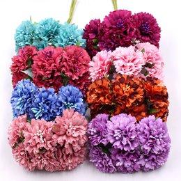 Gänseblümchen handwerk online-6 stücke / bund 3,5 cm mini daisy blumenstrauß künstliche blume hochzeit dekoration diy Ringelblume handwerk gefälschte blume dekoration zubehör