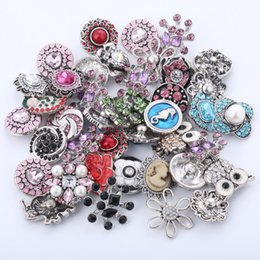 Wholesale Stainless Steel European Bracelets - DIY Jewelry 50pcs lot 12mm 18mm Rivca Snaps Button Rhinestone Alloy Charm Beaded Noosa Chunks Strands Bracelets