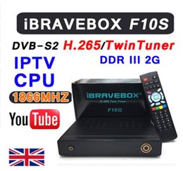 Wholesale Tv Satellite Tuner - iBRAVEBOX F10S DVB-S2 TwinTuner HD Satellite Receiver H.265 Support CCCCAMD NEWCAMD IKS USB Wifi Media Player With LED Display
