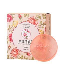 Sabonetes para lavar rosto on-line-60g Rose Óleo Essencial Handmade Rodada Sabonete Pele Limpeza Profunda Acne Tratamento Face Wash Sabonete de Banho Hidratante