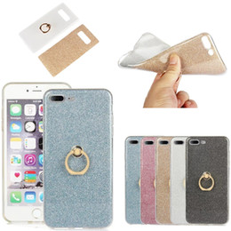 Wholesale Bracket Fitting - Glitter Stickers Holder Case Ring Buckle Bracket Stand Silicone Case For iPhone X 8 7 6 Plus 5 5C