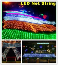 2019 4 m de luz neta Luces de la secuencia de la red de LED de Navidad al aire libre impermeable Net Mesh Fairy light 2m * 3m 4m * 6m Luz del banquete de boda Inicio festivo decoración de navidad 4 m de luz neta baratos