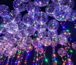 Wholesale Balloons For Halloween - New bobo ball wave led line string balloon light with battery for Christmas Halloween Wedding Party home Decoration Heart Star Circular
